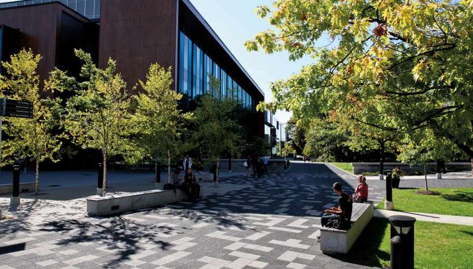North Gateway Plaza, University of Toronto, Mississauga ON <br> Product: Series 3000® Color: Ice Grey, White and Black Granite