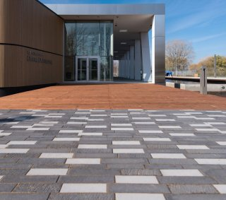 Center D'Art Diane Dufresne, QC <br> Product: Promenade™ Plank Paver with Il Campo® and Smooth Premier finishes <br> Color: Special Order