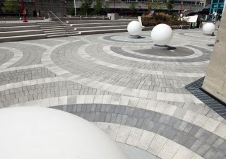Public Plaza at CN Tower, Toronto ON <br> Product: Umbriano® Color: Winter Marvel, Midnight Sky