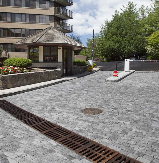 Westage Towers, White Plains NY <br> Product: Tribeca Cobble Color: Crystalline Basalt