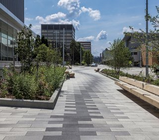 Michigan State University, College of Human Medicine, Grand Rapids Research Center <br> Products: Promenade™ Plank Paver Colors: Winter Marvel, French Grey and Midnight Sky