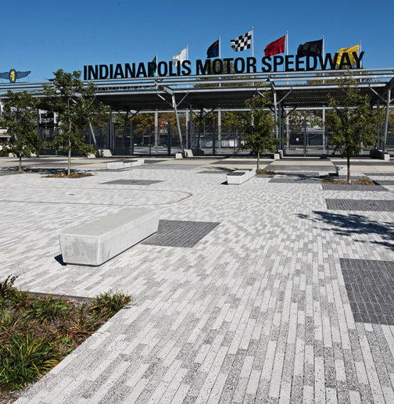 The Indianapolis Motor Speedway <br> Products: Eco-Promenade® 3x12&#8243; &amp; Series™ finish Color: Custom