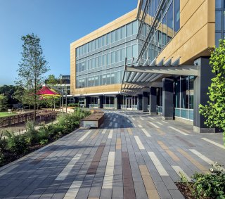 Hudson Valley Office Complex, Tarrytown NY <br> Product: Promenade™ Plank Paver Color: French Grey, Espresso, Almond, White in Smooth Premier finish