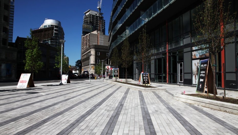 The Milan Condominiums, Toronto ON <br> Product: Promenade™ Plank Paver with Umbriano® finish Color: Winter Marvel, Midnight Sky