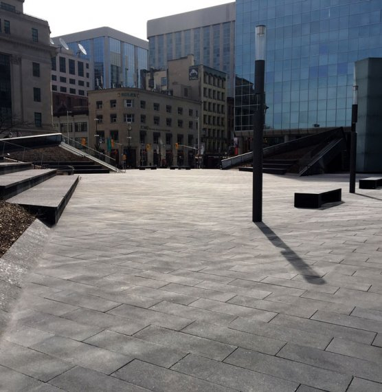 Bank of Canada- Head Office Renewal, Ottawa <br> Product: Umbriano®, Unigranite® Color: Midnight Sky, Dark Charcoal