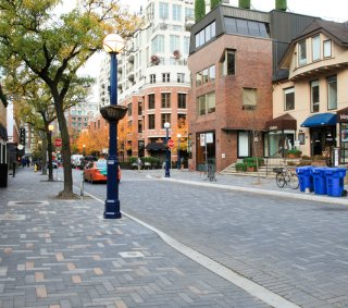 Yorkville Avenue, Toronto Ontario <br> Product: Promenade™ Plank Paver Color: Midnight Sky, French Grey, Autumn Sunset