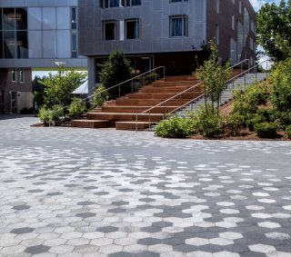 College Campus in Amherst MA <br> Product: City Park Pavers™ Color: Winter Marvel and Midnight Sky in the Umbriano® finish