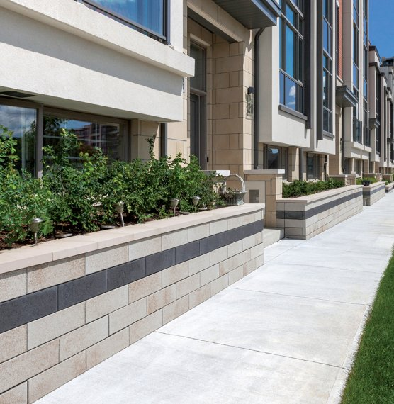 Crystal Gardens. Markham, ON<br>Product: U-Cara® Multi-Face Wall with Umbriano finish fascia panels in Summer Wheat and Midnight Sky