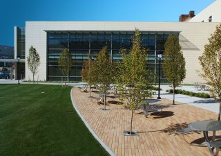 Cleveland State University Center for Innovation in Medical Professionals, OH <br> Product: Promenade™ Plank Paver Color: Mediterano Senzo™ finish