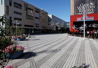 Uptown Alleyway & MOCA, Cleveland OH <br> Product: Promenade™ Plank Paver with Series 3000® finish Color: Special Order